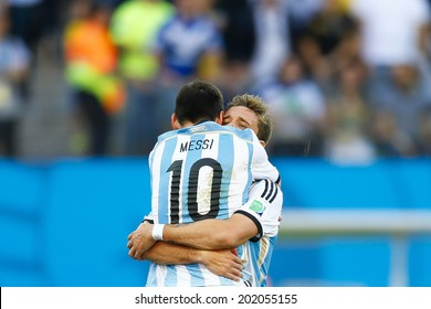 SAO PAULO, BRAZIL - July 1, 2014: Lionel Messi of Argentina celebrates the 1-0 victory against Switzerland after extra time during the Round of 16 game at Arena Corinthians. No Use in Brazil