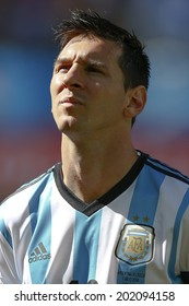 SAO PAULO, BRAZIL - July 1, 2014: Lionel Messi during Argentina National Anthem at the 2014 World Cup Round of 16 game between Argentina and Switzerland at Arena Corinthians. No Use in Brazil.