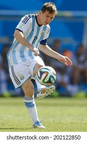 SAO PAULO, BRAZIL - July 1, 2014: Lionel Messi of Argentina during the Round of 16 game between Argentina and Switzerland at Arena Corinthians. No Use in Brazil.