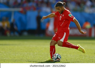 SAO PAULO, BRAZIL - July 1, 2014: Ricardo Rodriguez of Switzerland during the game between Argentina and Switzerland at Arena Corinthians. No Use in Brazil.