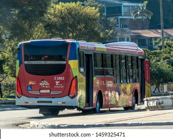 Sao Paulo, Brazil, July 12, 2019. Hop On Hop Off touristic bus stopped at Charles Miller Square in Pacaembu neighborhood, west of Sao Paulo