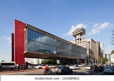 SAO PAULO, BRAZIL - JULY 18: Paulista Avenue is one of the most important places of Sao Paulo. The Sao Paulo Museum of Art (in Portuguese, Museu de Arte de Sao Paulo, or MASP) located on this avenue.