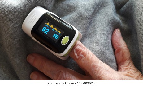 Sao Paulo / Brazil - July 21 2019: Closeup of a pulse oximeter in the finger of an elderly woman in a household. It measures the heart rate and oxygen saturation.