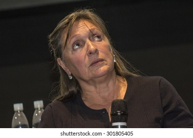 Sao Paulo, Brazil, July 21, 2015: French movie screenwriter Elisabeth Perceval during Press Conference in Sao Paulo