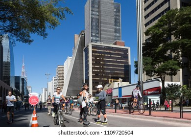Sao Paulo, Brazil, July 28, 2015. Bike path that was being inaugurated at Avenida Paulista, on a sunny Sunday on July 28th, 2015