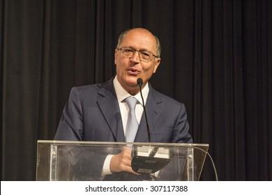 Sao Paulo, Brazil, July 28, 2015. Geraldo Alckmin Governor of Sao Paulo state, during International Poultry and Pork Show, in Sao Paulo, Brazil