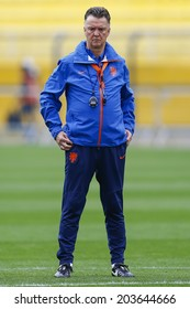 SAO PAULO, BRAZIL - July 8, 2014: Coach Louis Van Gaal during Netherlands training session at Arena Corinthians in preparation for the semi-finals game against Argentina. NO USE IN BRAZIL.