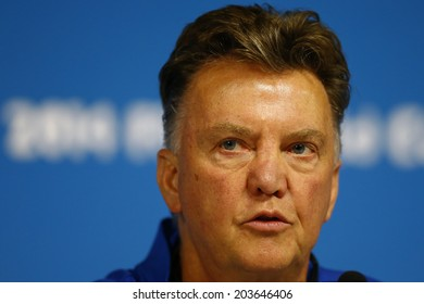SAO PAULO, BRAZIL - July 8, 2014: Coach Louis Van Gaal of Netherlands during a press conference at Arena Corinthians one day before the game against Argentina. NO USE IN BRAZIL.
