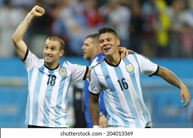 SAO PAULO, BRAZIL - July 9, 2014: Marcos Rojo and Rodrigo Palacio during the 2014 World Cup Semi-finals game between the Netherlands and Argentina at Arena Corinthians. NO USE IN BRAZIL.