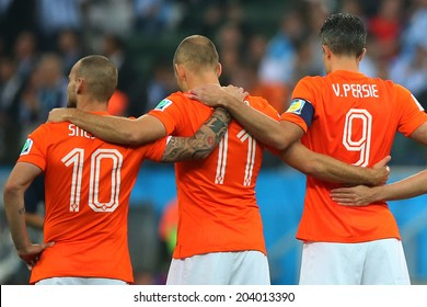 SAO PAULO, BRAZIL - July 9, 2014: Arjen Robben, Robin Van Persie, Wesley Sneijder during the 2014 World Cup Semi-finals between the Netherlands and Argentina at Arena Corinthians. NO USE IN BRAZIL.