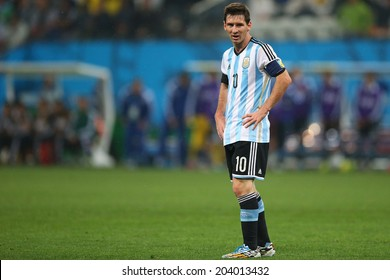 SAO PAULO, BRAZIL - July 9, 2014: Lionel Messi during the 2014 World Cup Semi-finals game between the Netherlands and Argentina at Arena Corinthians. NO USE IN BRAZIL.