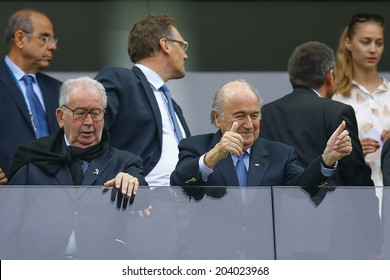 SAO PAULO, BRAZIL - July 9, 2014: Joseph Blatter during the 2014 World Cup Semi-finals game between the Netherlands and Argentina at Arena Corinthians. NO USE IN BRAZIL.