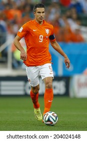 SAO PAULO, BRAZIL - July 9, 2014: Robin Van Persie during the 2014 World Cup Semi-finals game between the Netherlands and Argentina at Arena Corinthians. NO USE IN BRAZIL.