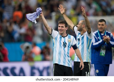 SAO PAULO, BRAZIL - July 9, 2014: Lionel Messi and Argentina team celebrating victory in the 2014 World Cup semi-final match between Netherlands and Argentina in Corinthians Arena.