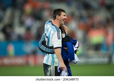 SAO PAULO, BRAZIL - July 9, 2014: Lionel Messi celebrating victory in the 2014 World Cup semi-final match between Netherlands and Argentina in Corinthians Arena.