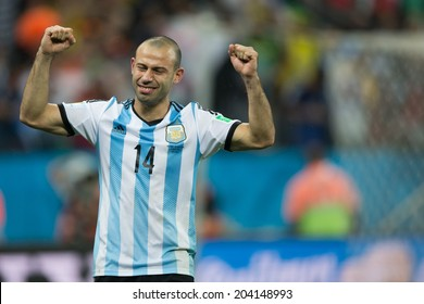 SAO PAULO, BRAZIL - July 9, 2014: Javier Mascherano celebrating victory in the 2014 World Cup semi-final match between Netherlands and Argentina in Corinthians Arena.
