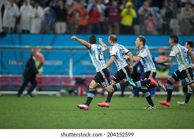 SAO PAULO, BRAZIL - July 9, 2014: Argentina national team celebrates during the World Cup Semi-finals game between Netherlands and Argentina at Arena Corinthians