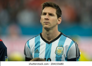 SAO PAULO, BRAZIL - July 9, 2014: Lionel MESSI during Argentina National Anthem at the 2014 World Cup Semi-finals game between Argentina and Netherlands at Arena Corinthians.