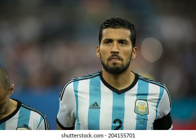 SAO PAULO, BRAZIL - July 9, 2014: Ezequiel GARAY during Argentina National Anthem at the 2014 World Cup Semi-finals game between Argentina and Netherlands at Arena Corinthians.