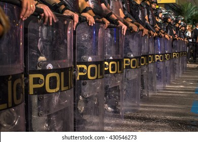 Sao Paulo, Brazil, June 01, 2016: Riot of Military Police during  a protest against the gang-rape of a 16-year-old girl last week in a favela in Rio de Janeiro, in Paulista Avenue in Sao Paulo, Brazil