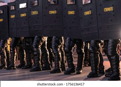 Sao Paulo, Brazil, June 07, 2020. Riot  prepared to prevent the entry of demonstrators in favor of democracy and against the Bolsonaro government on Pinheiros neighborhood in Sao Paulo