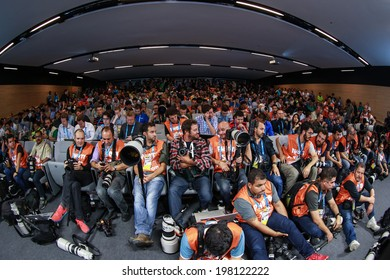 SAO PAULO, BRAZIL � June 11, 2014: Brazil team press conference one day before the opening game between Brazil and Croatia at Corinthians Arena. No Use in Brazil.