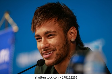SAO PAULO, BRAZIL � June 11, 2014: Neymar of Brazil at a press conference one day before the opening game between Brazil and Croatia at Corinthians Arena. No Use in Brazil.
