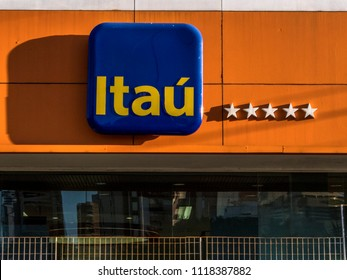 Sao Paulo, Brazil, June 12, 2018. Detail of the facade with the logo of an agency of Itau Bank, in the south zone of Sao Paulo