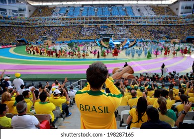 SAO PAULO, BRAZIL - June 12, 2014: Fans during the World Cup Group A opening game between Brazil and Croatia at Corinthians Arena. No Use in Brazil.