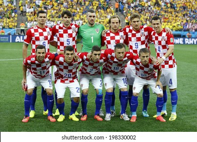 SAO PAULO, BRAZIL - June 12, 2014: Croatia team posing for a photo during the FIFA 2014 World Cup opening game. Brazil is facing Croatia in the Group A at Corinthians Arena. No Use in Brazil.