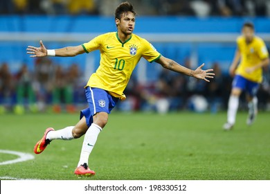 SAO PAULO, BRAZIL - June 12, 2014:Neymar (#10) of Brazil celebrates during the World Cup Group A opening game between Brazil and Croatia at Corinthians Arena. No Use in Brazil.