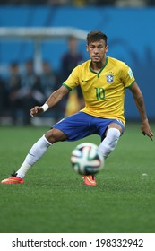 SAO PAULO, BRAZIL - June 12, 2014:Neymar of Brazil in action during the World Cup Group A opening game between Brazil and Croatia at Corinthians Arena. No Use in Brazil.