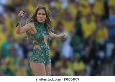 SAO PAULO, BRAZIL - June 12, 2014: American singer Jennifer Lopez performing during the opening ceremony of the FIFA 2014 World Cup at Corinthians Arena. No Use in Brazil.