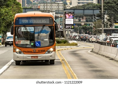 Sao Paulo, Brazil, June 13, 2018. Bus traffic and taxis in the exclusive bus corridor of Reboucas Avenue, west of Sao Paulo