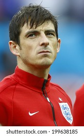 SAO PAULO, BRAZIL - June 19, 2014: Leighton Baines during England National Anthem at the 2014 World Cup Group D game between Uruguay and England at Arena Corinthians, Itaquerao. NO USE IN BRAZIL.