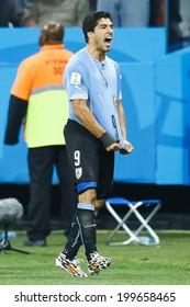 SAO PAULO, BRAZIL - June 19, 2014: Luis Suarez of Uruguay celebrates this goal against England during the 2014 World Cup Group D game at Arena Corinthians. No Use in Brazil.