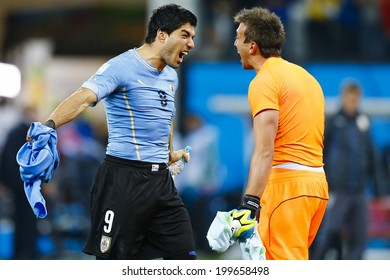 SAO PAULO, BRAZIL - June 19, 2014: Luis Suarez of Uruguay celebrates after scoring a goal during the 2014 World Cup Group D game between Uruguay and England at Arena Corinthians. No Use in Brazil.
