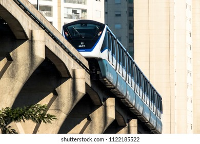 Sao Paulo, Brazil, June 20, 2018. Monorail train moves on railway girder in east  region of Sao Paulo