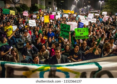 Sao Paulo, Brazil, June 20, 2013. Protesters on Paulista Avenue during a protest against the increase in the value of bus, train and subway tickets. In addition to the passages, several other causes