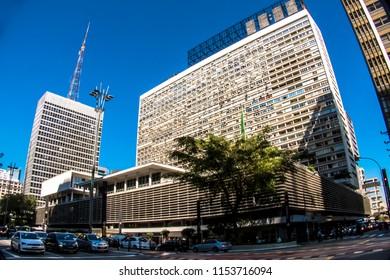 Sao Paulo, Brazil, June 20, 2018. Entrance and facade of Shopping Conjunto Nacional in Paulista Avenue