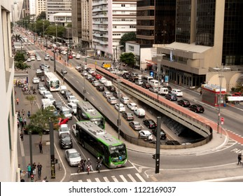 Sao Paulo, Brazil, June 22, 2018. Traffic of Vehicles in Paulista Avenue, central region of Sao Paulo,