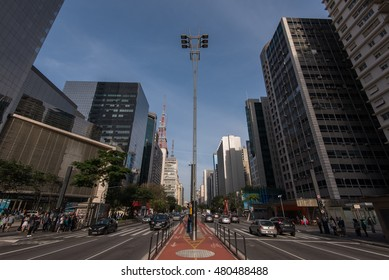 Sao Paulo, Brazil - June 25, 2016: Paulista Avenue is one of the most important financial centers of the city and is a popular place to visit among locals and city guests.