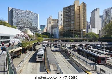 Sao Paulo, Brazil - June 27, 2016: View of Terminal Bandeira, a bus terminal in the city of Sao Paulo, Brazil.