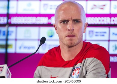 SAO PAULO, BRAZIL - JUNE 28, 2014: Bradley of United States during a press conference ahead of  the Round 16 of the FIFA World Cup 2014 at the Sao Paulo FC training center. NO USE IN BRAZIL.