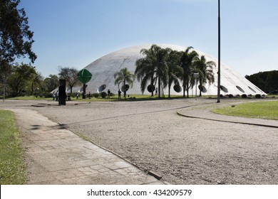 SAO PAULO, BRAZIL - June, 8, 2016: Pavilion Governor Lucas Nogueira Garcez, known as Oca, designed by Brazilian architect Oscar Niemeyer in 1954 in Ibirapuera Park.