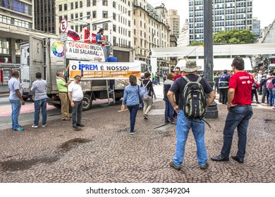 Sao Paulo, Brazil, March 03, 2016. Municipal civil servants make a protest in front of the Municipality of Sao Paulo in the Cha Viaduct, downtown Sao Paulo,