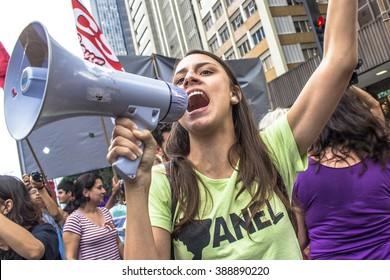 Sao Paulo, Brazil, March 08, 2016. Thousands of women march through Sao Paulo, Brazil on March 8, 2016 in observance of International Women's Day.