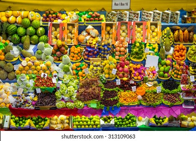 Sao Paulo, Brazil - March 14: Colorful fresh fruit stand at the traditional Municipal Market (Mercado Municipal), the Mercadao, in Sao Paulo, Brazil.
