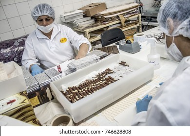 Sao Paulo, Brazil, March 15, 2012. Production line in an Easter egg factory in Sao Paulo, Brazil