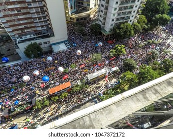 Sao Paulo, Brazil, March 16, 2018. Aerial view of the demonstration of municipal civil servants who are against the increase of the discount in the salaries to pay the retirements, in Sao Paulo